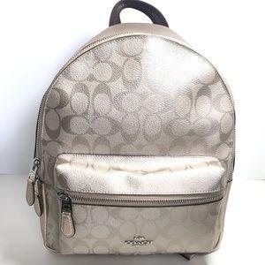 Coach medium Charlie backpack platinum/silver
